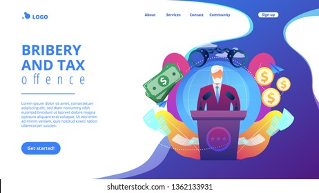 Deceitful politician speaking from tribune, corruption in politics. Political corruption, bribery and tax offence, governmental corruption concept. Website vibrant violet landing web page template.