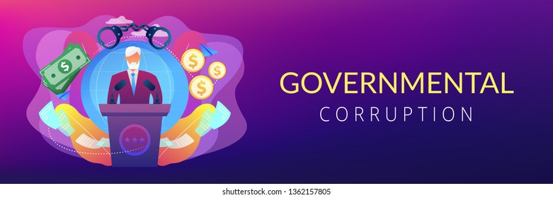 Deceitful politician speaking from tribune, corruption in politics. Political corruption, bribery and tax offence, governmental corruption concept. Header or footer banner template with copy space.