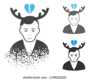 Deceived horned husband icon with face in disappearing, pixelated halftone and undamaged solid versions. Fragments are organized into vector dissipated deceived horned husband shape.
