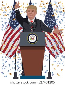 december 01, 2016:A vector illustration of a portrait of Republican  Presidential Candidate Donald Trump raised his hands with a finger  victory up on national flag background.