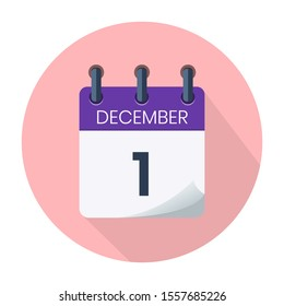 December 1. Vector Daily Calendar icon Date And Month, Day, Season