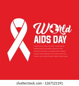 December 1. World AIDS Day poster. Awareness ribbon. Vector illustration - Vector