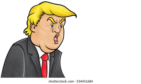 December 12, 2016: vector Caricature character illustration of Donald Trump