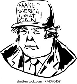 December 12, 2017. Outlined caricature of President Donald J. Trump wearing a MAGA hat over white background