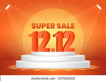 December 12 super sale shopping day on pedestal for poster, web banner, landing page, poster, flyer, promotional material.