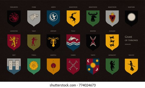 DECEMBER 13, 2017: Set of heraldic symbols or logos of various Game of Throne houses isolated on dark background. Bundle of coat of arms or sigils of fantasy kingdoms. Editorial vector illustration.