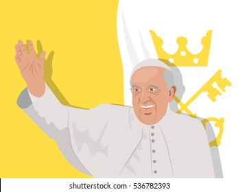 December 15, 2016: vector illustration of smiling and waving his hand Pope Francis in traditional suit on Vatican City flag background.