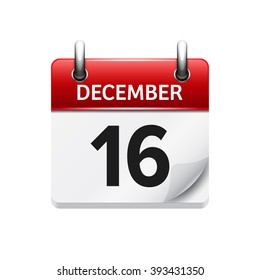 December  16. Vector flat daily calendar icon. Date and time, day, month. Holiday.