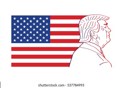 December 17, 2016: 45th President of the United States. Caricature portrait of Donald John Trump. Vector illustration. Editorial use only