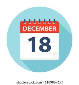 December 18 - Calendar Icon - Vector Illustration