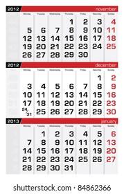 December 2012 Three-Month Calendar