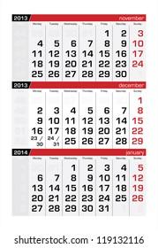 December 2013 Three-Month Calendar