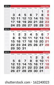 December 2014 Three-Month Calendar