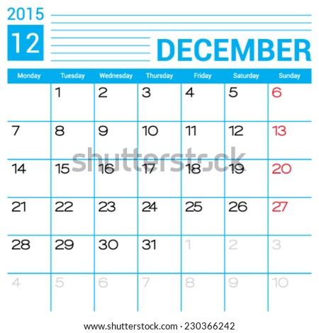 December 2015 Calendar Vector Design Template Stock Vector Royalty