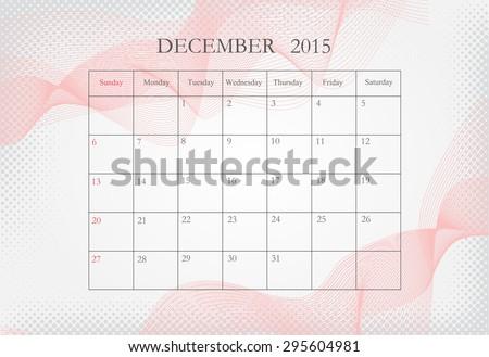 December 2015 Planning Calendar December 2015 Vector Template Stock