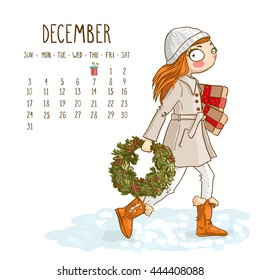 December. 2017 calendar with cute girl with a Christmas wreath and gifts. Can be used like greeting cards.
