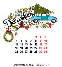 December. 2017. Calendar. Isolated vector object on white background.