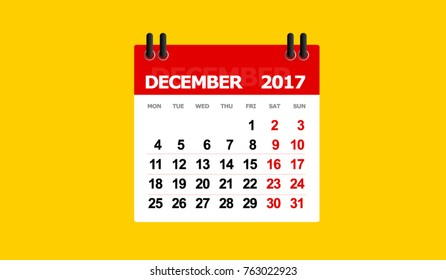 december 2017 calendar vector isolated yellow background