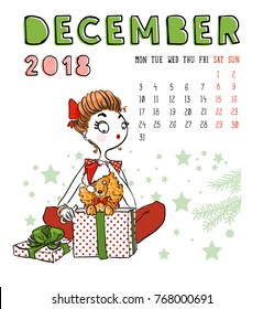 December. 2018 calendar. Cute girl with dog. Can be used like greeting cards.