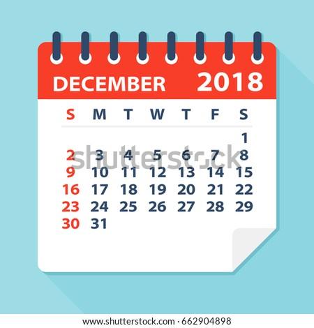 december 2018 calendar leaf flat vector illustration