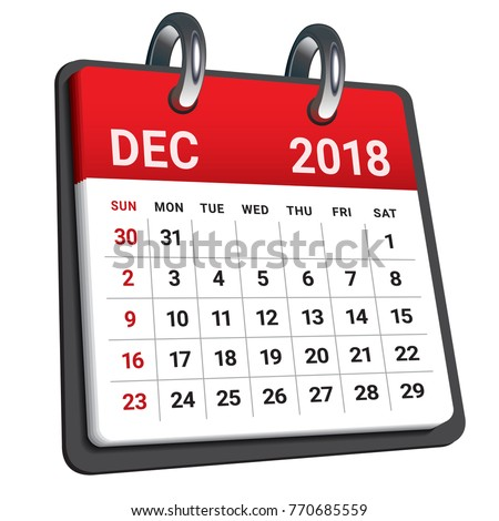 december 2018 calendar vector illustration simple and clean design