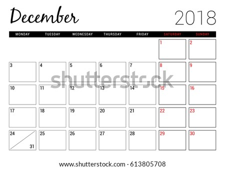 December 2018 Printable Calendar Planner Design Stock Vector