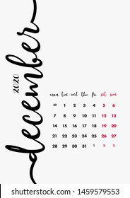 December 2020 Calendar. Desk Paper Calendar 2020 Design Concept. Vector Set. 12 Months and Cover. Corporate Calendar Design Template A5.