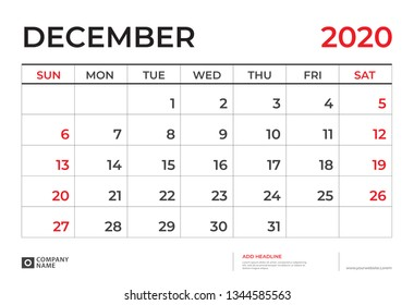DECEMBER 2020 Calendar template, Desk calendar layout  Size 9.5 x 6.5 inch, planner design, week starts on sunday, stationery design, vector Eps10