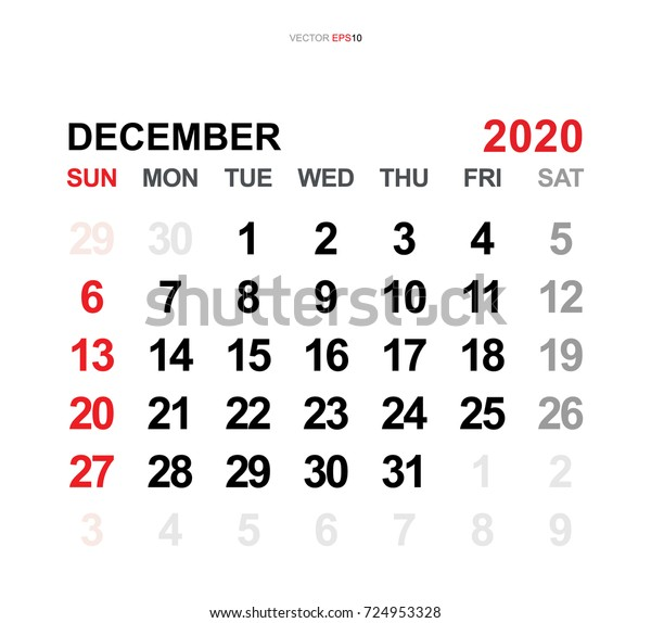 Calendar December 2020.December 2020 Vector Monthly Calendar Template Stock Vector Royalty