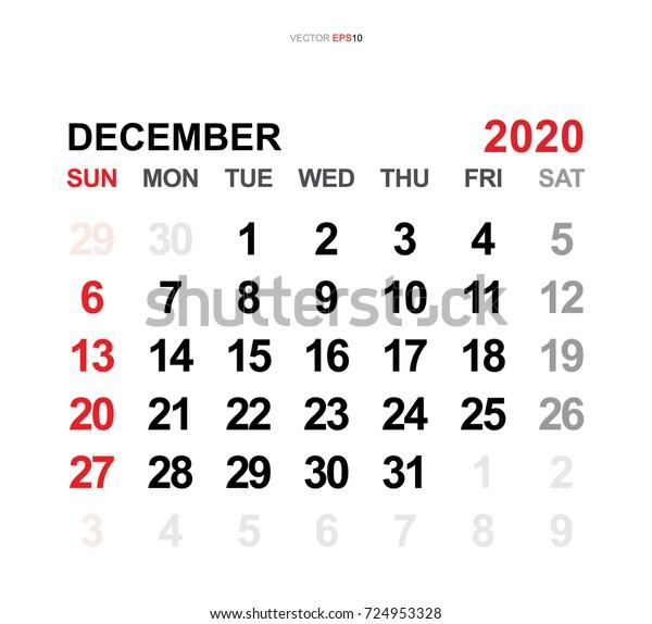December Calendar 2020.December 2020 Vector Monthly Calendar Template Stock Vector Royalty