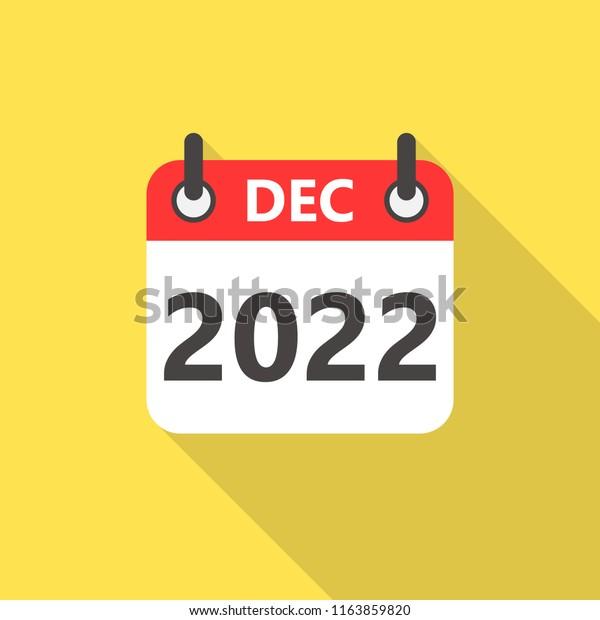 Calendar For December 2022.December 2022 Calendar Flat Style Icon Stock Vector Royalty Free 1163859820