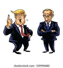 December 21, 2016. USA President Donald Trump and Russian President Vladimir Putin Vector Cartoon Caricature Portrait  Illustration