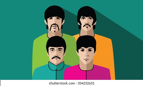 DECEMBER 22 2015: Color Illustration of The Beatles in their psychedelic stage. George Harrison, Ringo Starr, John Lennon and Paul McCartney. EPS 10 vector.