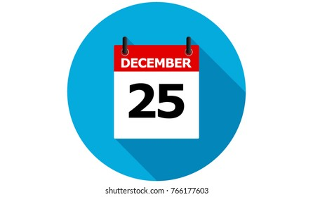 december 25 calendar vector flat icon with long shadow
