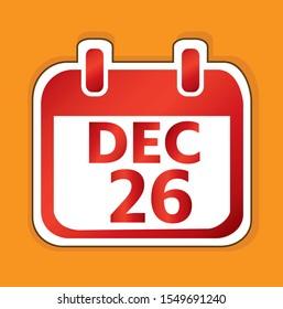 December 26 Calendar day vector design