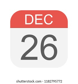 December 26 - Calendar Icon - Vector Illustration