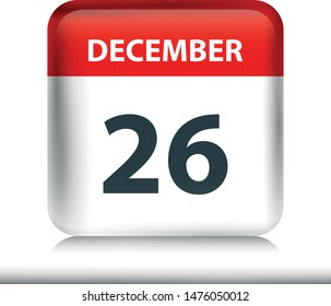December 26 - Glossy Calendar Icon - Calendar design template - Business vector illustration.