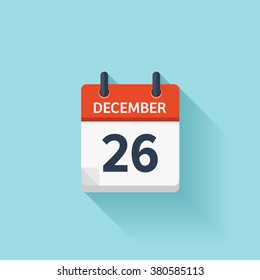 December  26.Calendar icon.Vector illustration,flat style.Date,day of month:Sunday,Monday,Tuesday,Wednesday,Thursday,Friday,Saturday.Weekend,red letter day.Calendar for 2017 year.Holidays in December