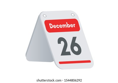 December 26th calendar icon. Day 26 of month. Vector illustration.