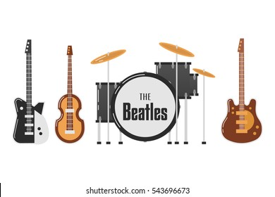 December 27, 2016: vector illustration of the Beatles band's musical instruments on white background. World Beatles Day on January 16 topic.