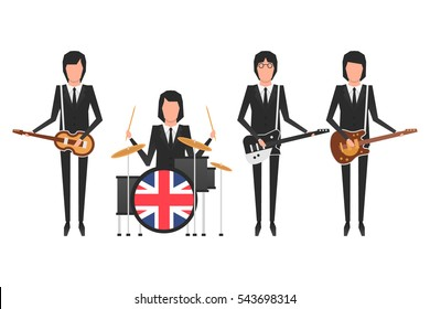 December 27, 2016: vector illustration of the Beatles which members are playing musical instruments on white background. World Beatles Day on January 16 topic.