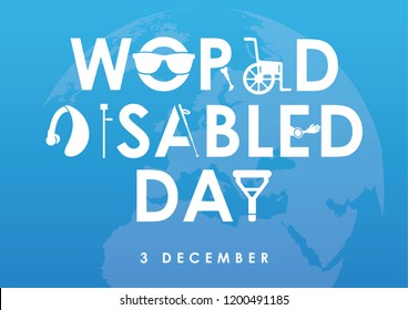 December 3 - world disability day greeting card template in flat design vector illustration. Invalid person, blind woman, broken arm, man on wheelchair, prosthetic arms and legs. Healthcare assistance