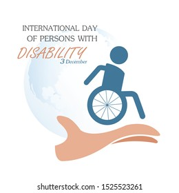 December 3 - World Disability Day concept. International day of person with disabled design with symbolical icons Vector illustration