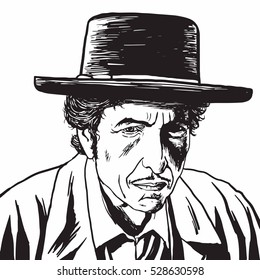 December 4, 2016. Bob Dylan Hand Drawn Drawing Portrait, Caricature Vector Illustration