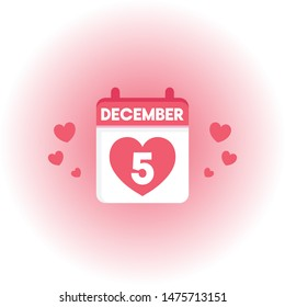 DECEMBER 5 CALENDAR DAILY ICON VECTOR.eps