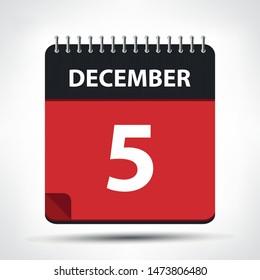 December 5 - Calendar Icon - Calendar design template - Business vector illustration.