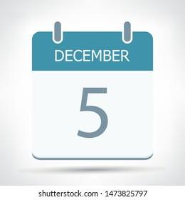 December 5 - Calendar Icon - Calendar flat design template - Business vector illustration.