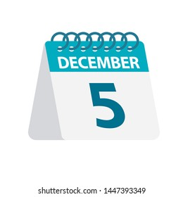 December 5 - Calendar Icon - Vector Illustration