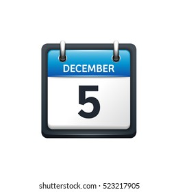 December 5. Calendar icon.Vector illustration,flat style.Month and date.Sunday,Monday,Tuesday,Wednesday,Thursday,Friday,Saturday.Week,weekend,red letter day. 2017,2018 year.Holidays.