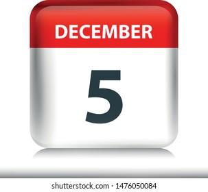 December 5 - Glossy Calendar Icon - Calendar design template - Business vector illustration.
